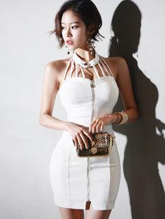 Korean Design zipper Patchwork Halter Dress