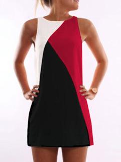 Summer Hot Geometric Color Block Sleeveless Dress