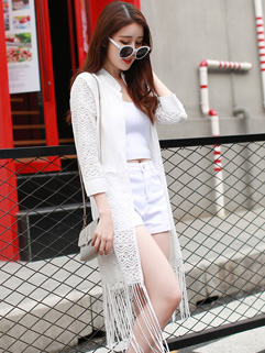 Fashionable Solid Tassel Sun-proof Coat
