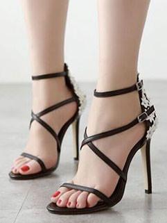 Elegant Fashion Appliques Buckle Strap Stiletto Pumps