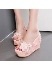Concise Style Open Toe Lace Sequined Wedges