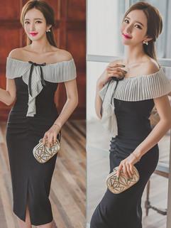Korean Fashion Off Shoulder Bow Ladies Dress