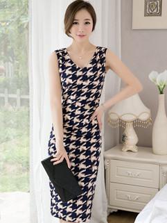 Noble Plaid V Neck Wrap Slit Beautiful Dress