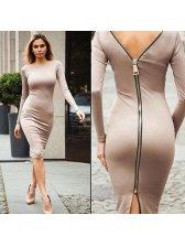 European Style Backless Zipper Sexy Dresses