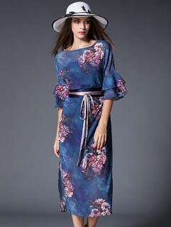 Ethnic Vintage Floral Printing Slit Fashion Dress