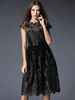 Elegant Fashion Gauze Embroidery Slim Beautiful Dress