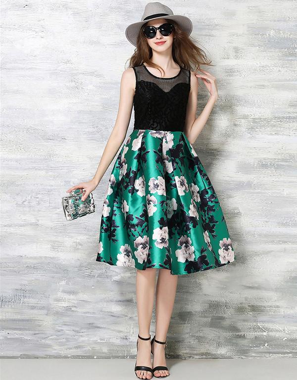 Euro Hollow Out Gauze Patchwork Floral Slim Sun Dress