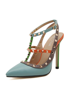 Fashion Rivets T-strap Pointed Toe Blue Pumps Color Matching Thin Heels Pumps
