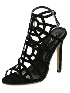 Euro Style Hollow Out High Heels Spider Web Black Fashion Pumps