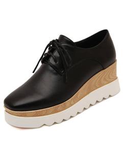 Wholesale Fashion Simple Design Wedges Lace Up Square Toe Black Flats