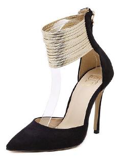 Elegant Black Suede Zippered High Heel Embellished Pumps