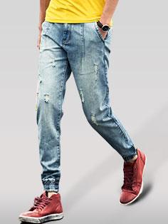 Japanese Street Handsome Men Jeans Zipper Fly Slim Fitness Harem Hole Long Pants