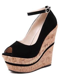 Fashion Design Black Peep-toe One-buckle Belt Suede Women Platform Wedge