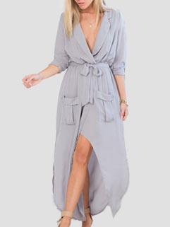 Fashion Long Sleeve Sexy Slit Chiffon Maxi Dress