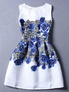 Wholesale Floral Pattern Sleeveless New Dress