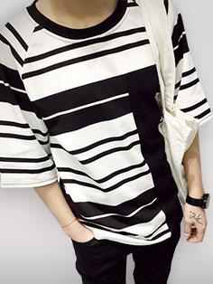 Korean Fashion Summer Striped Loose Men Tee