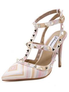 Euro Fashion Rivet Striped High Heel Pumps