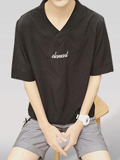Korean Design Embroidery Casual T-Shirt