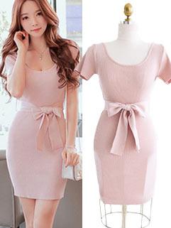 Elegant Lack-up Bow Slim Wrap Boutique Dresses