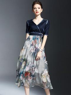 New Arrival Patchwork V Neck Floral Long Dress
