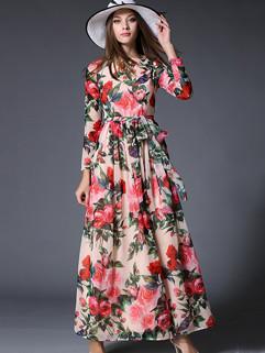 Euro Fashion Chiffon Floral Printing Beautiful Long Dress
