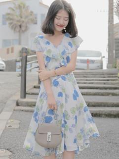 Wholesale Sweet Vintage Floral Printed Party Dress