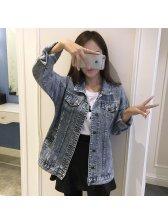 Korean Style Loose Casual Denim Jacket Coats