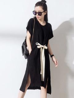 Hot Sale Pretty Drawstring Waist Slit Ladies Dress