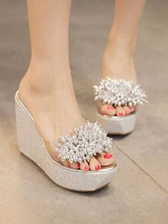 Summer Fashion Beading Wedge Slipper