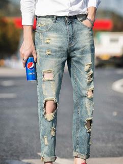 Korean Fashion Worn Out Hole Denim Ninth Pants