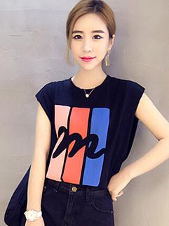 Wholesale Summer Printed Sleeveless Women T-Shirt