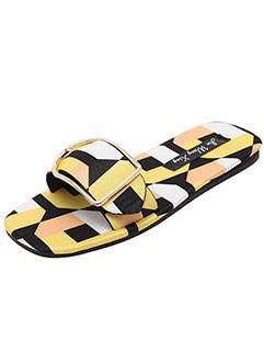 Korean Modern Style Color Block Slipper