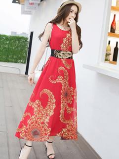 Wholesale Fashion Chiffon Printed Long Beautiful Dress