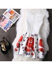 Korean Adorable Bow Printed Mini Dresses