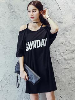 Japan Off Shoulder Printing Letter Strap Fashion Dress