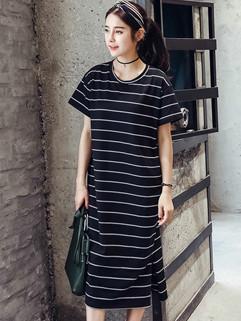 Wholesale Fashion Stripe Slit Casual Long Dresses