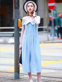Euro Style Off Shoulder Street Wear Jumpsuit