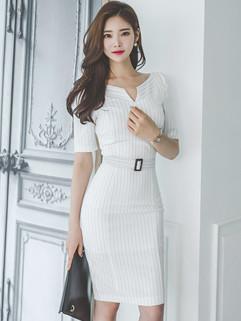 Summer Stripe V Neck Slim Wrap Fashion Dresses