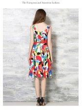 Euro Fashion Colorful Printed Sleeveless Boutique Dresses