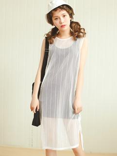 Transparent Hollow-out Stripe Two Pieces Dress
