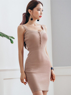 Elegant Solid Sleeveless Strap Slim Fashion Dress