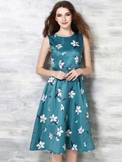 Euro Floral Printed Sleeveless Slim Beautiful Dresses