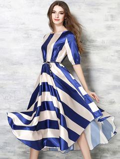 Summer Stripe Bohemian Crew Neck Long Dress