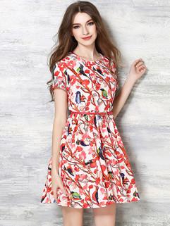 Japan Sweet Floral Printed Ruffle Slim Beautiful Dress