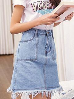 Classical Style Rinse Tassels Women Denim Skirt