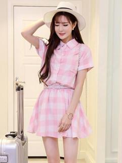 Wholesale Fashion Plaid Short Sleeve Short Dress