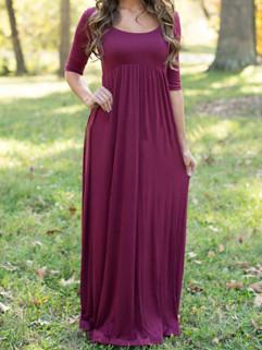 Hot Sale Solid Lady Maxi Dress