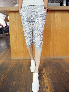 Korean Design Printing Fitted Sport  Harem Pants