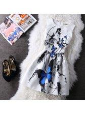 Korean Fashion Bow Printed A-Line Dresses