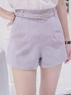 Simple Design High Waist Solid Women Short Pant